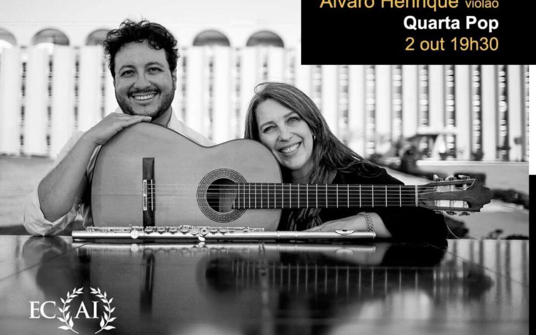 Diana Mota (flauta) e Alvaro Henrique (violão) no Espaço Cultural Alexandre Inecco (2 de outubro, 19h30)